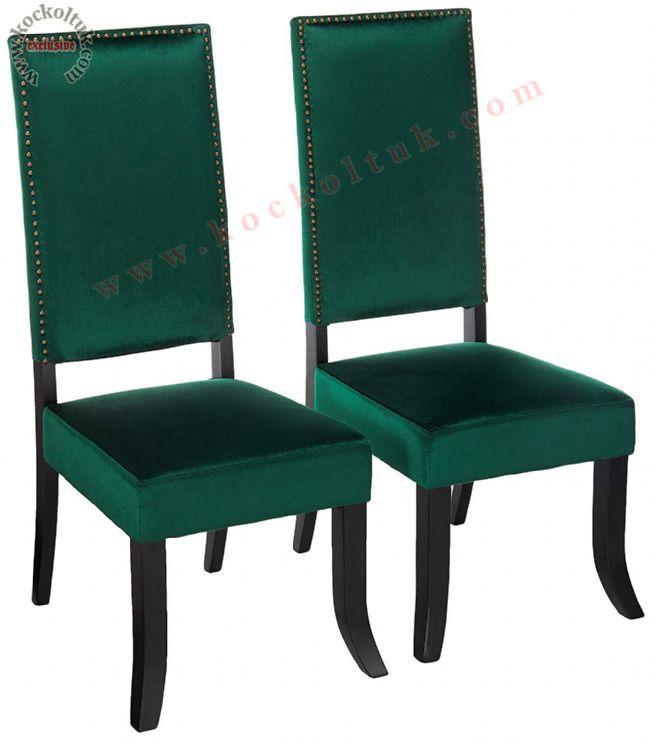 Yeşil Kadife modern sandalye yüksek sırtlı